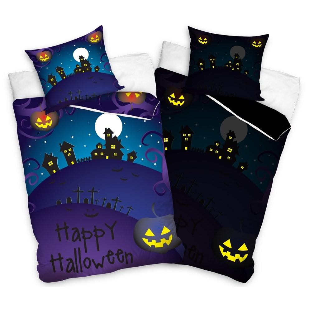 TipTrade Bavlnené obliečky Halloween Strašidelný dom, 140 x 200 cm, 70 x 80 cm