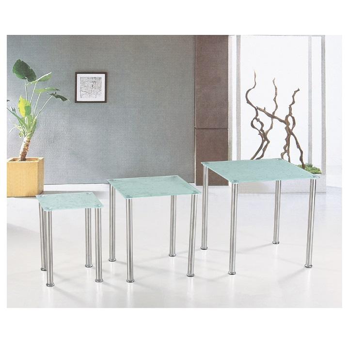 TEMPO KONDELA Sada 3 príručných stolíkov, tvrdené sklo/oceľ, NESTOR