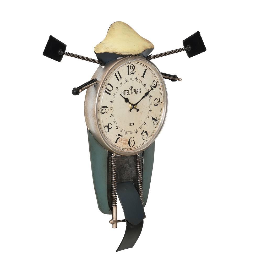 [en.casa]® Nástenné hodiny v tvare motocykla - analógové - 47 x 5,5 x 56 cm - farebné