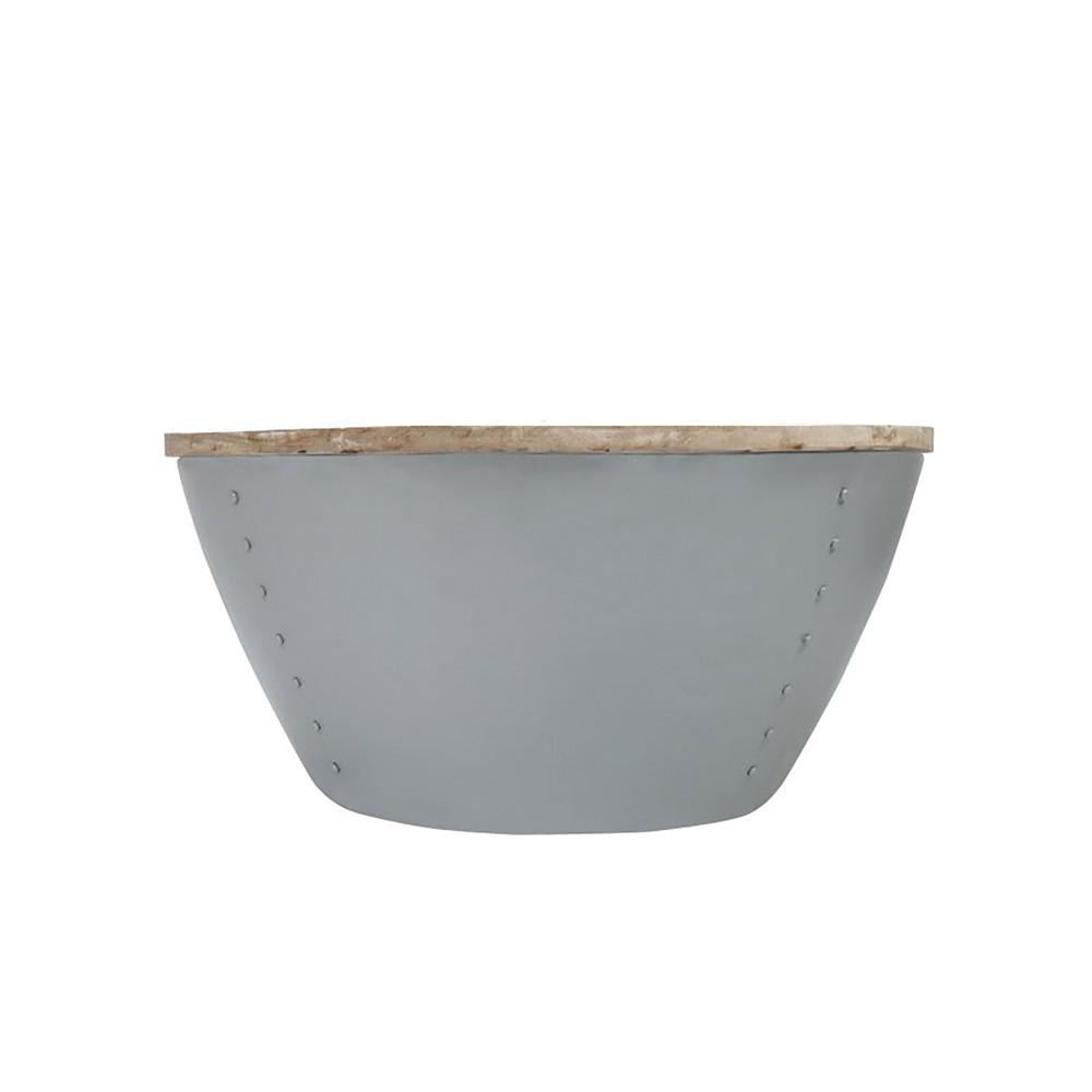 Sivý príručný stolík s doskou z mangového dreva LABEL51 Indi, Ø 80 cm