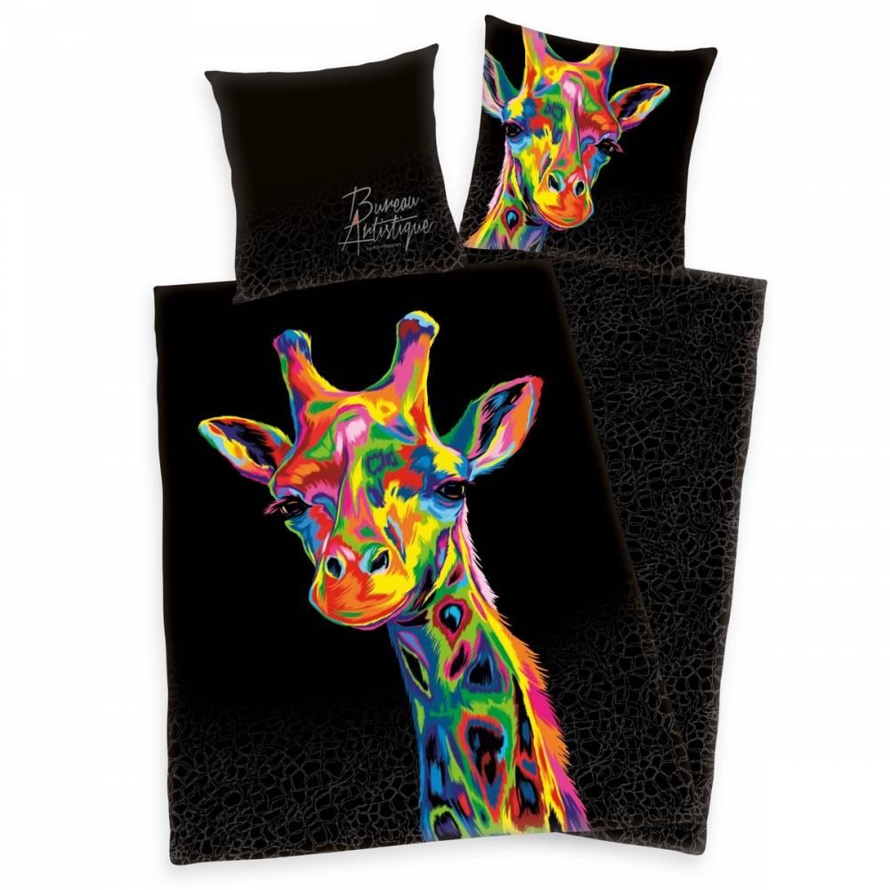 Herding Saténové obliečky Bureau Artistique - Colored Giraffe, 140 x 200 cm, 70 x 90 cm