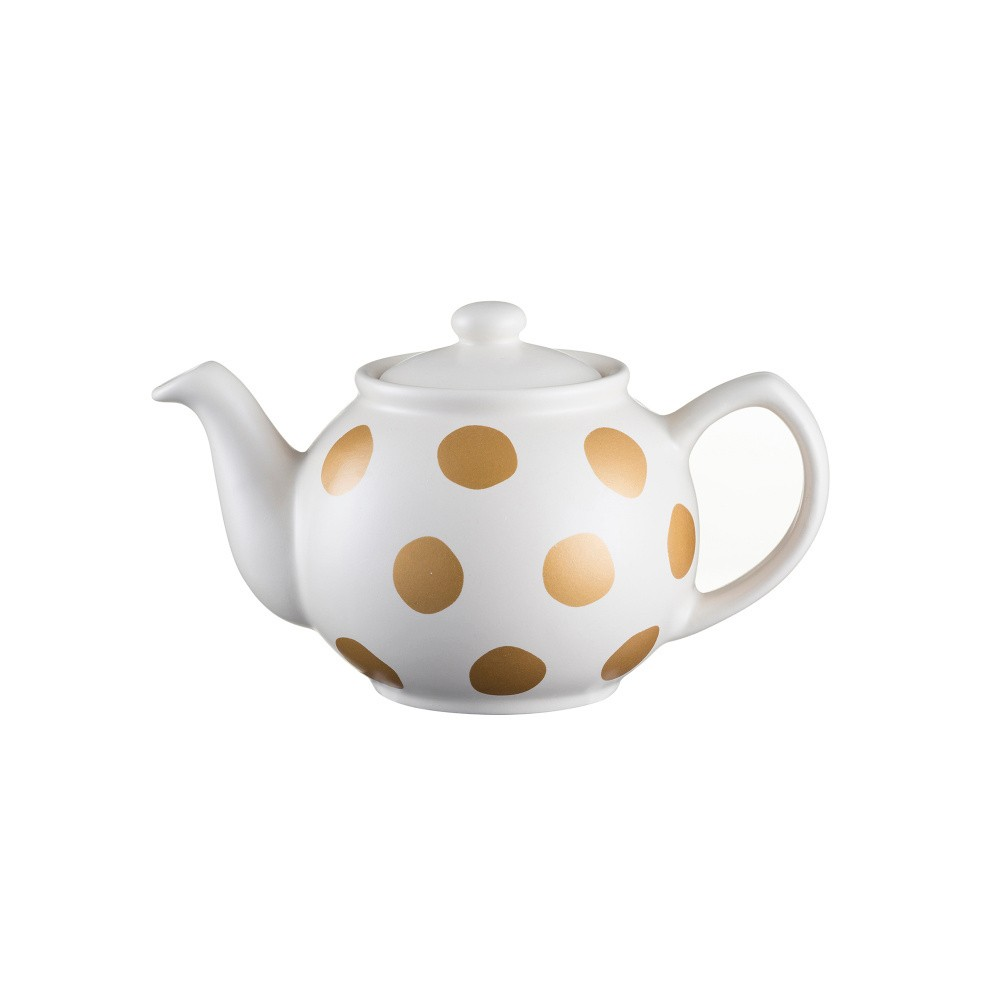 Krémová čajová kanvica s bodkami z kameniny Price&Kensington Gold Spot, 400 ml