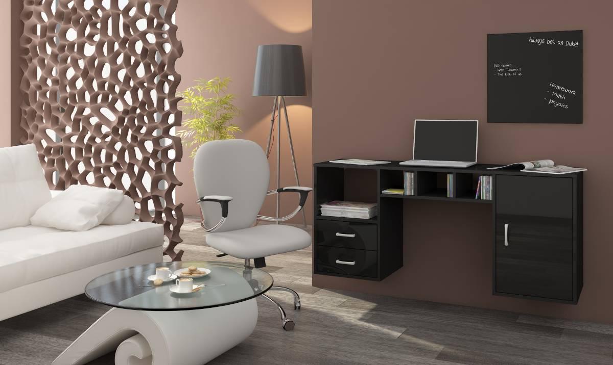 PC stolík Hanger čierna + lesk čierny