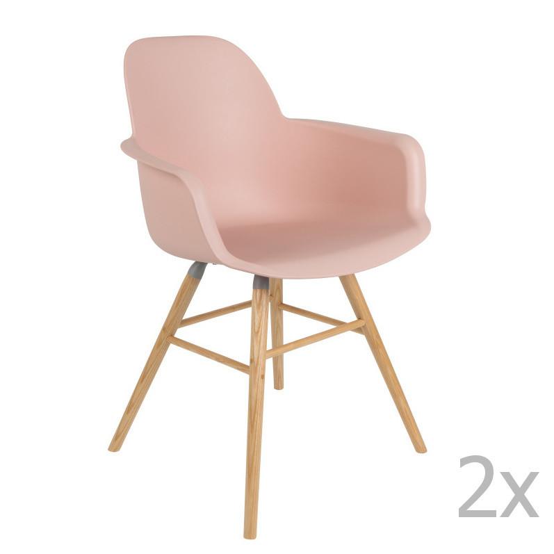 Sada 2 ružových stoličiek s operadlom Zuiver Albert Kuip