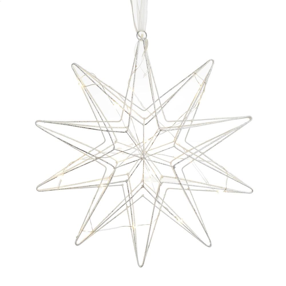 Vianočná dekorácia v striebornej farbe v tvare hviezdy InArt Daisy