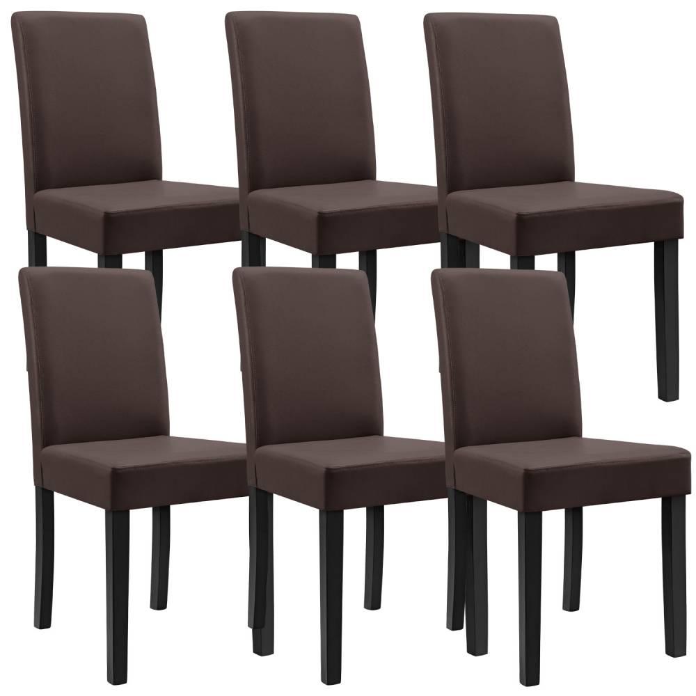 [en.casa]® Sada 6 ks štýlových čalúnených stoličiek - hnedé