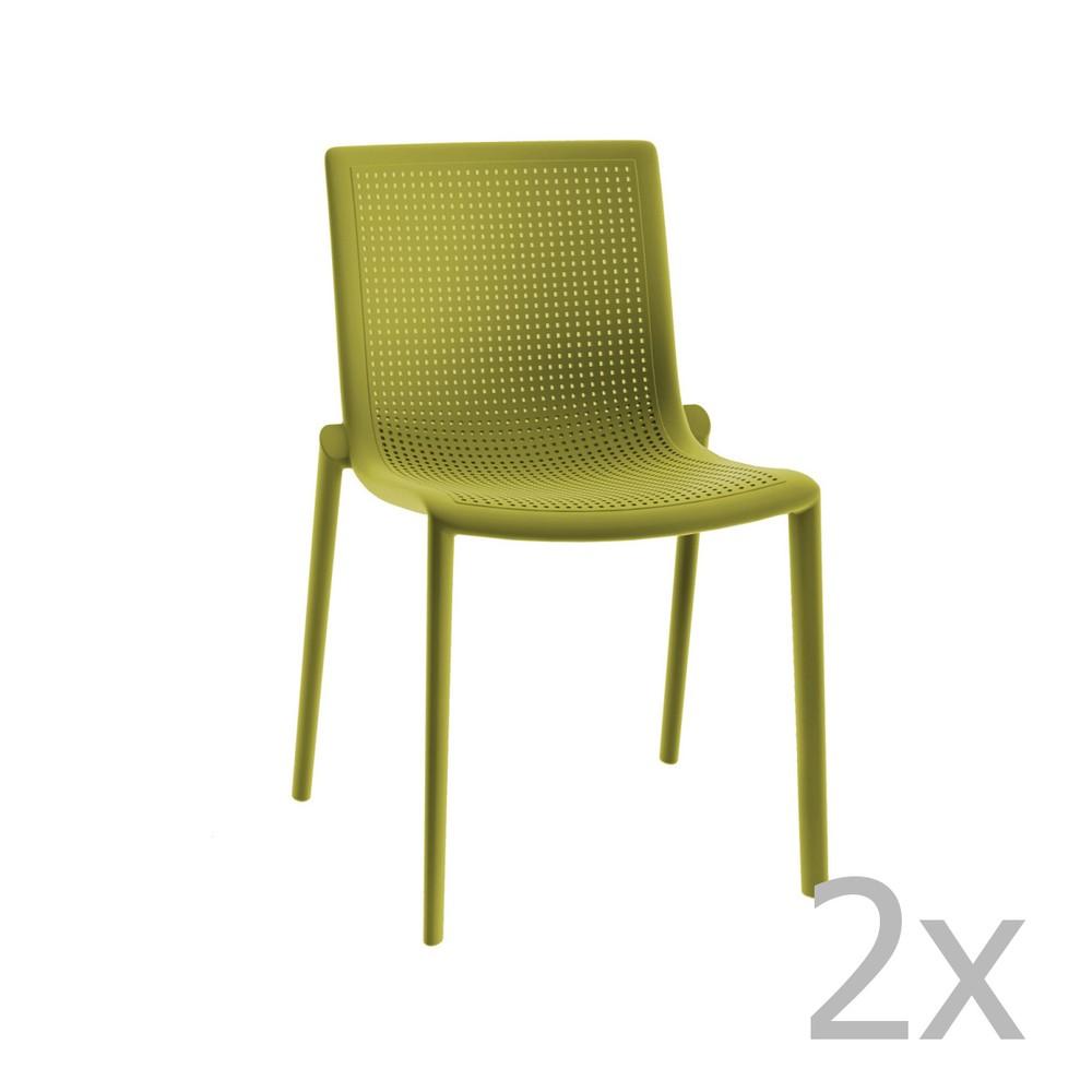 Sada 2 zelených záhradných stoličiek Resol Beekat Simple