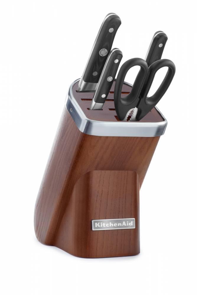 KitchenAid Sada nožov s blokom, 5 ks, prírodné drevo-tmavý jaseň KKFMA05DA