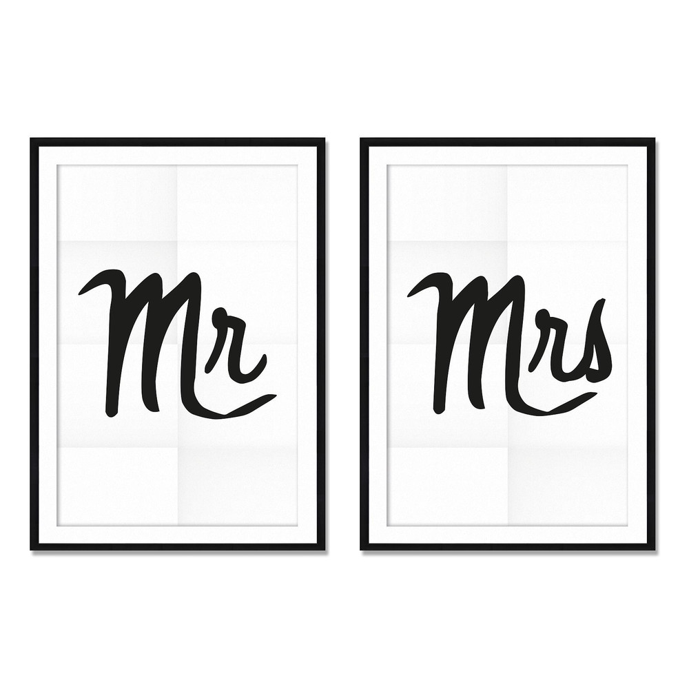 Sada 2 obrazov Really Nice Things Mr&Mrs, 40x60cm
