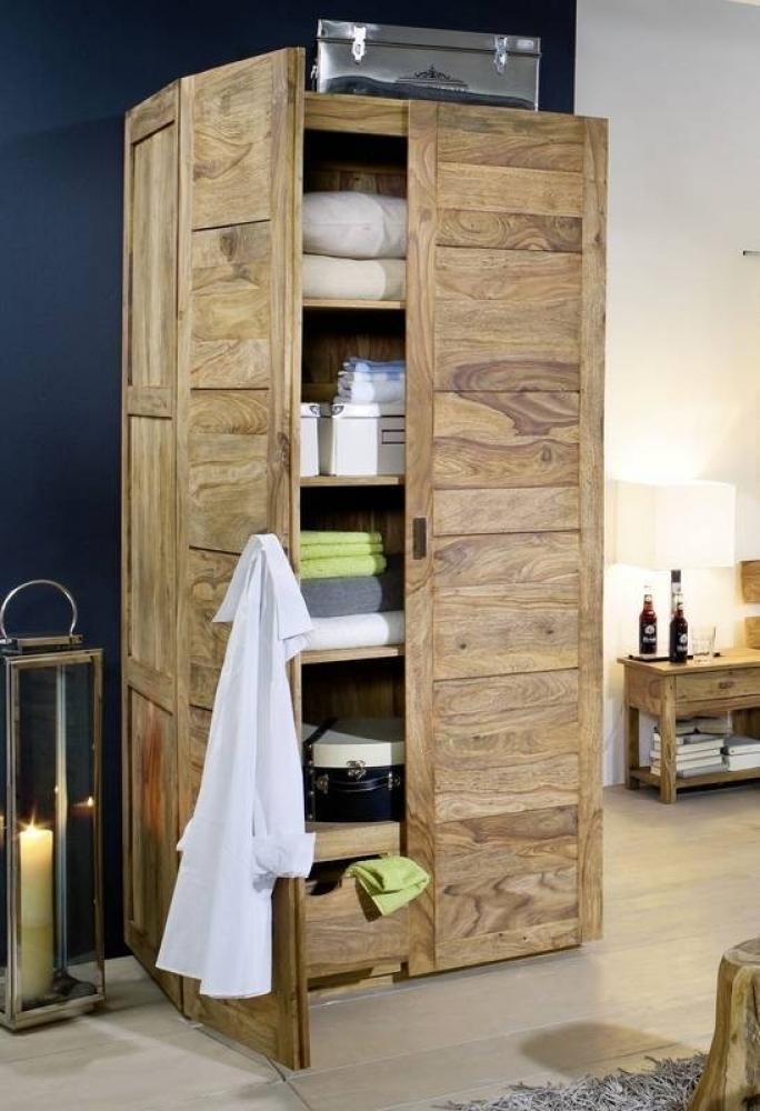 NATURE BROWN Sheesham skriňa na oblečenie, masívne palisandrové drevo #501