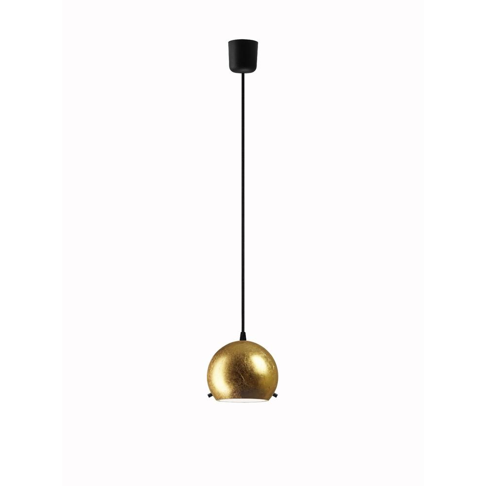 Zlaté závesné svietidlo s čiernym káblom Sotto Luce Myoo