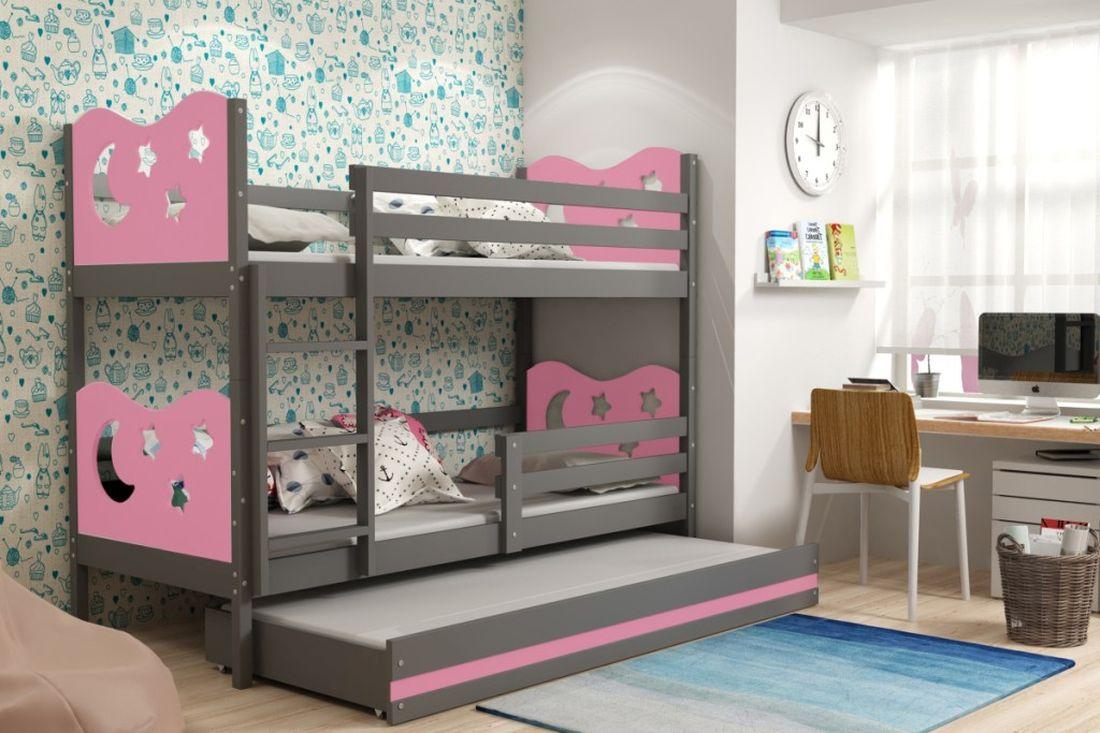 Poschodová posteľ KAMIL 3 + matrac + rošt ZADARMO, 90x200, grafit/ružová