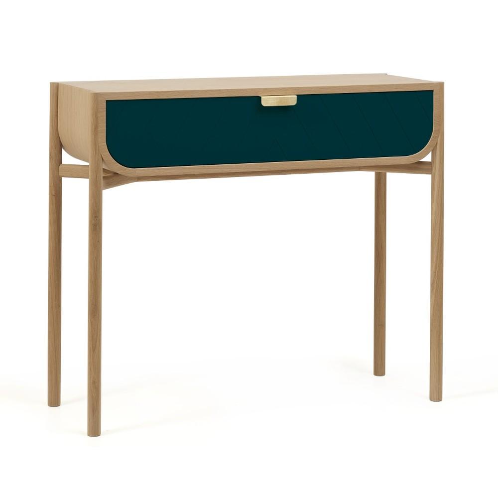 Konzolový stolík z dubového dreva s modrou zásuvkou HARTÔ Marius