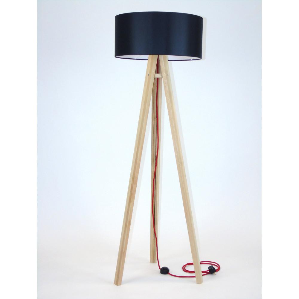 Stojacia lampa s čiernym tienidloma červeným káblom Ragaba Wanda