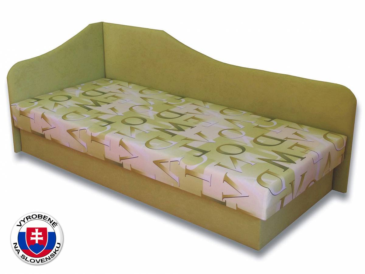 Jednolôžková posteľ (váľanda) 80 cm Lux 87 (Svetlozelená 72 + Muro 30) (L)