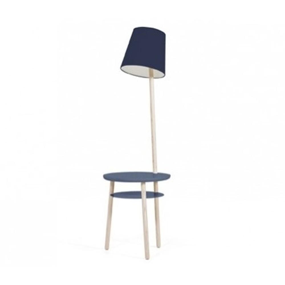 Tmavomodrá stolová lampa z jaseňového dreva HARTÔ Josette