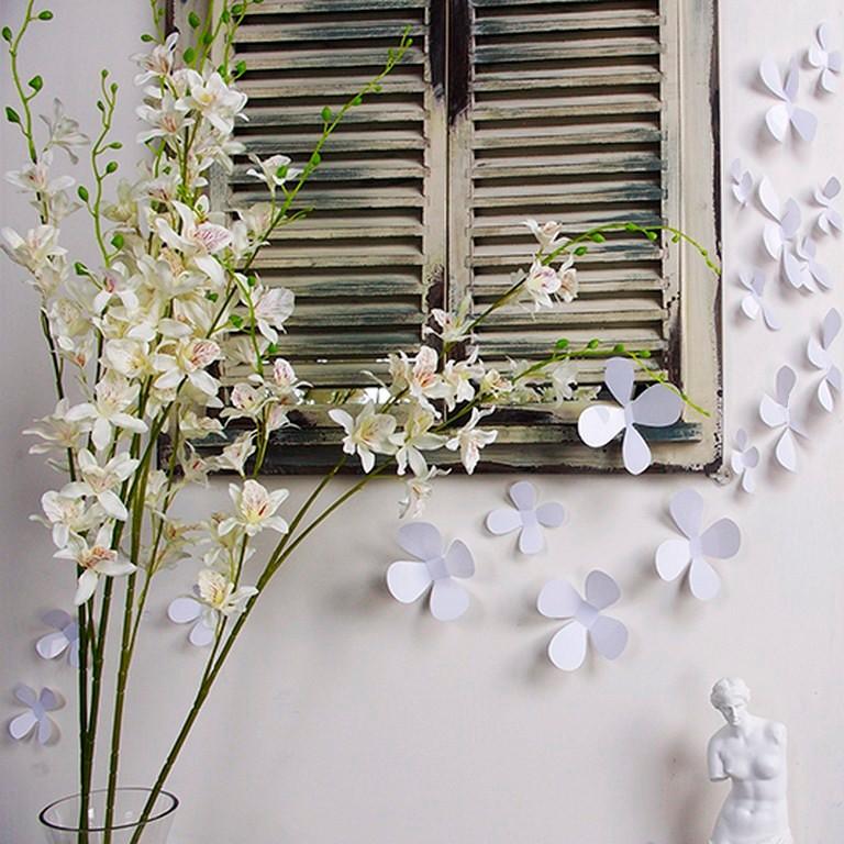 Sada 12 bielych adhezívnych 3D samolepiek Ambiance Flowers