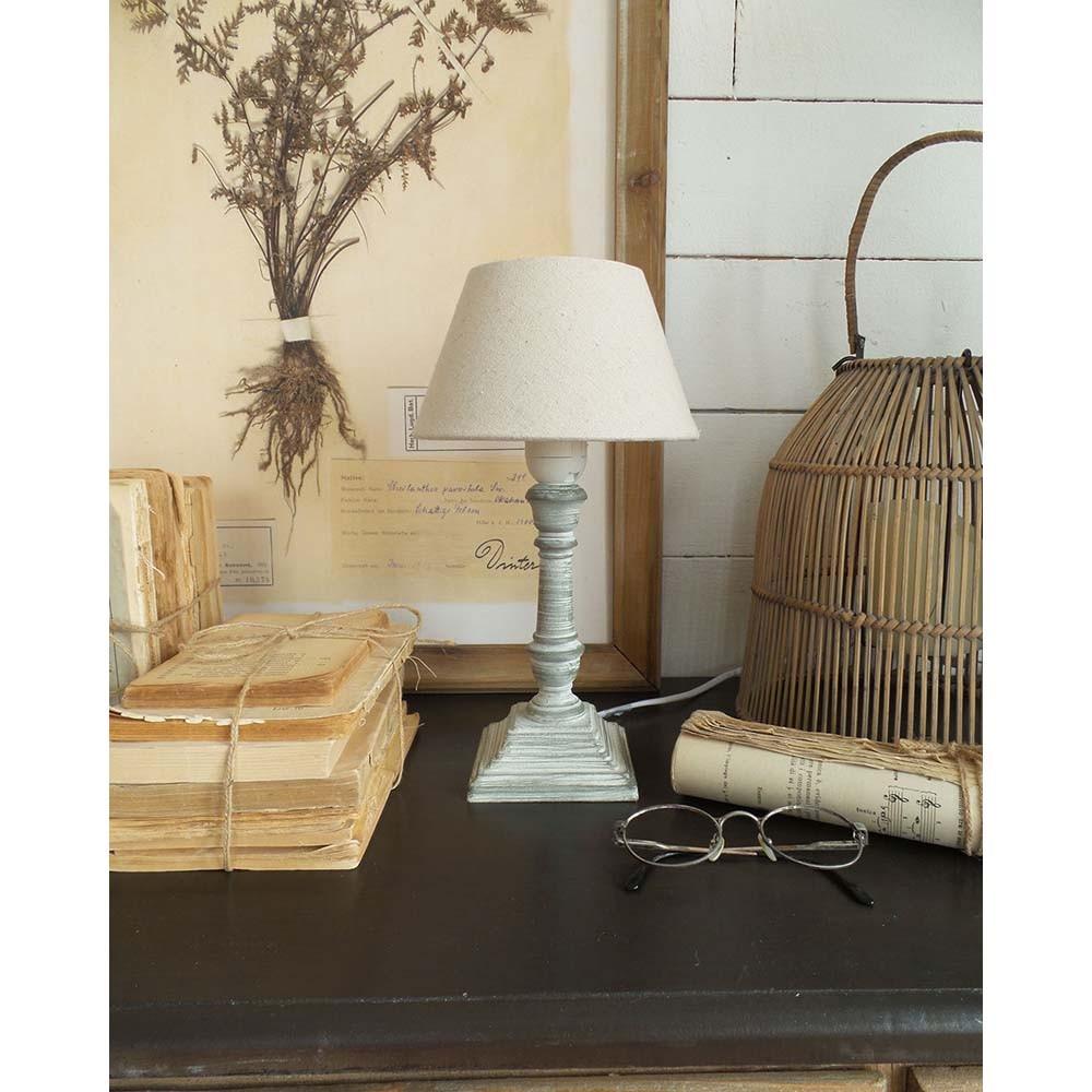 Sivá drevená stolová lampa Orchidea Milano 30 cm