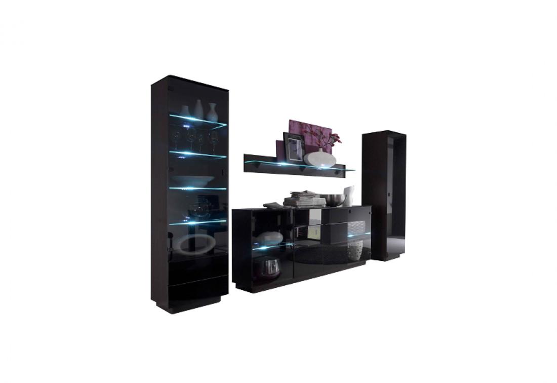 Obývacia zostava Womo TG IV-vitrína, komb.komoda, polička dlhá, skriňa 1d, barová komoda, polička krátka, wenge / čierna lesk