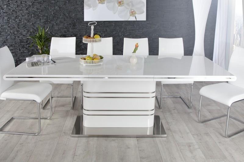 Jedálenský rozkladací stôl ALANTIS 160-220 cm - biela
