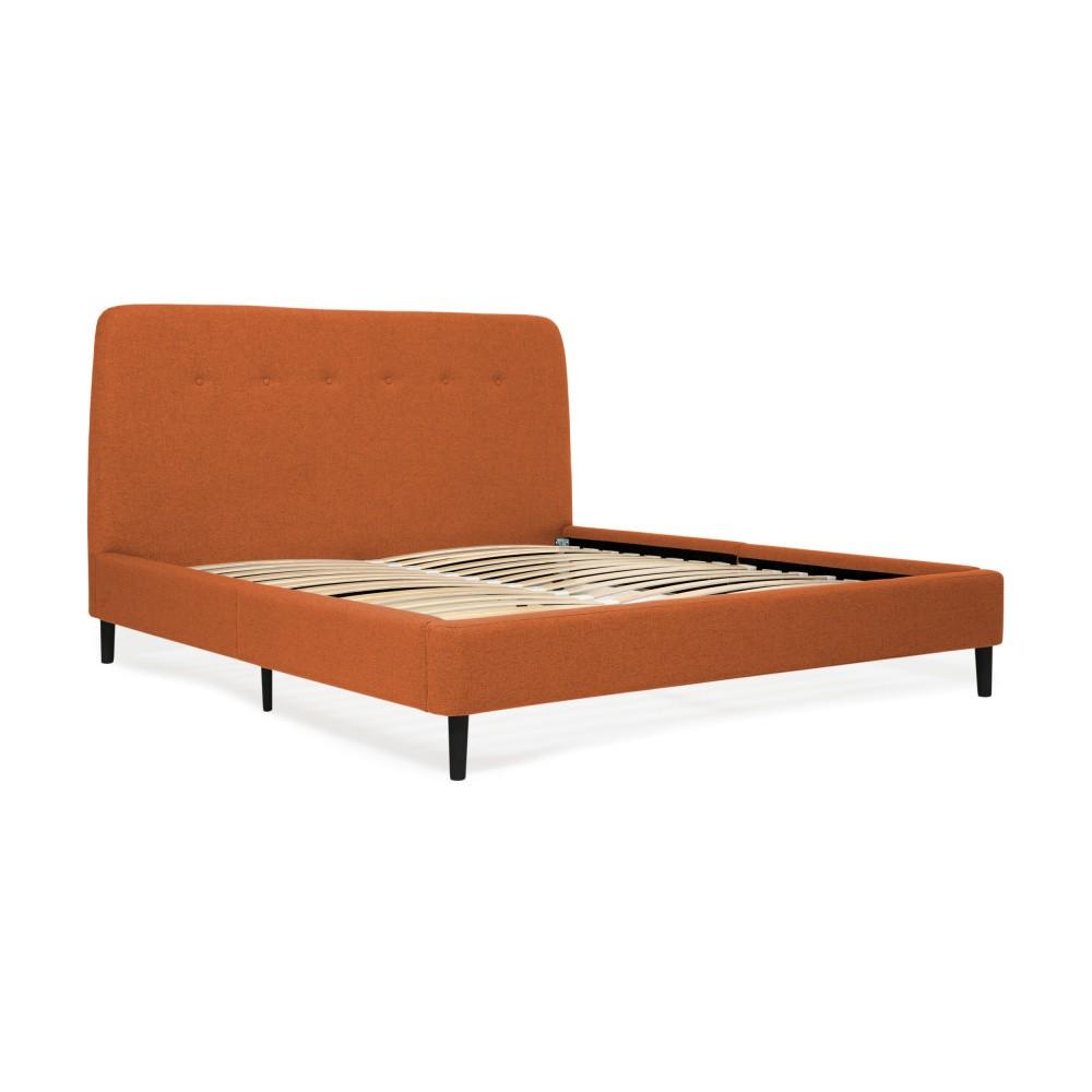 Oranžová dvojlôžková posteľ s čiernymi nohami Vivonita Mae King Size, 180×200 cm