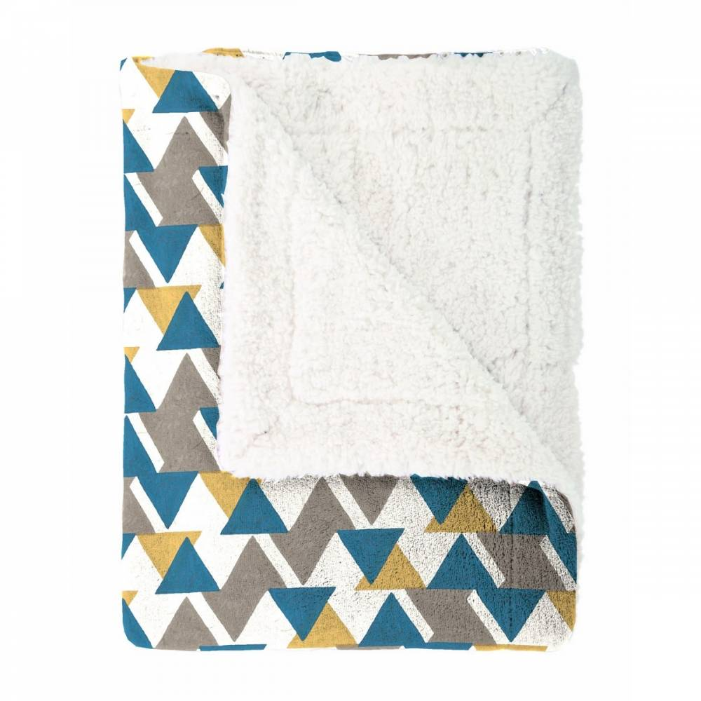 Mistral Home Beránková deka Triangle modrá, 150 x 200 cm