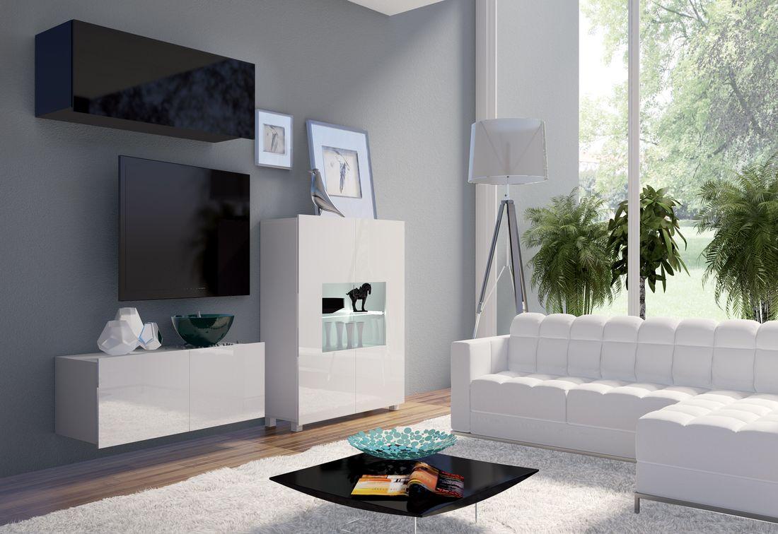 Obývacia zostava BRINICA NR9, biela/biely lesk + čierna/čierny lesk + modrý LED