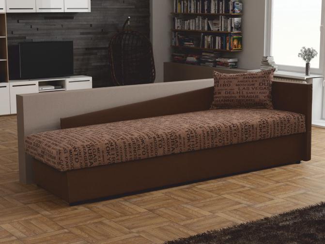 Jednolôžková posteľ (váľanda) 80 cm Judit (hnedá) (s úl. priestorom) (P)