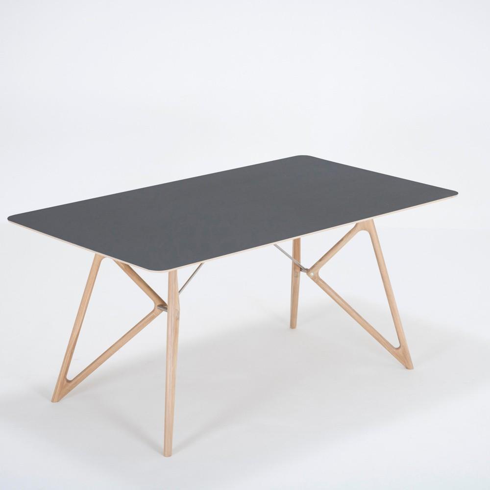 Jedálenský stôl z masívneho dubového dreva s čiernou doskou Gazzda Tink, 160×90cm