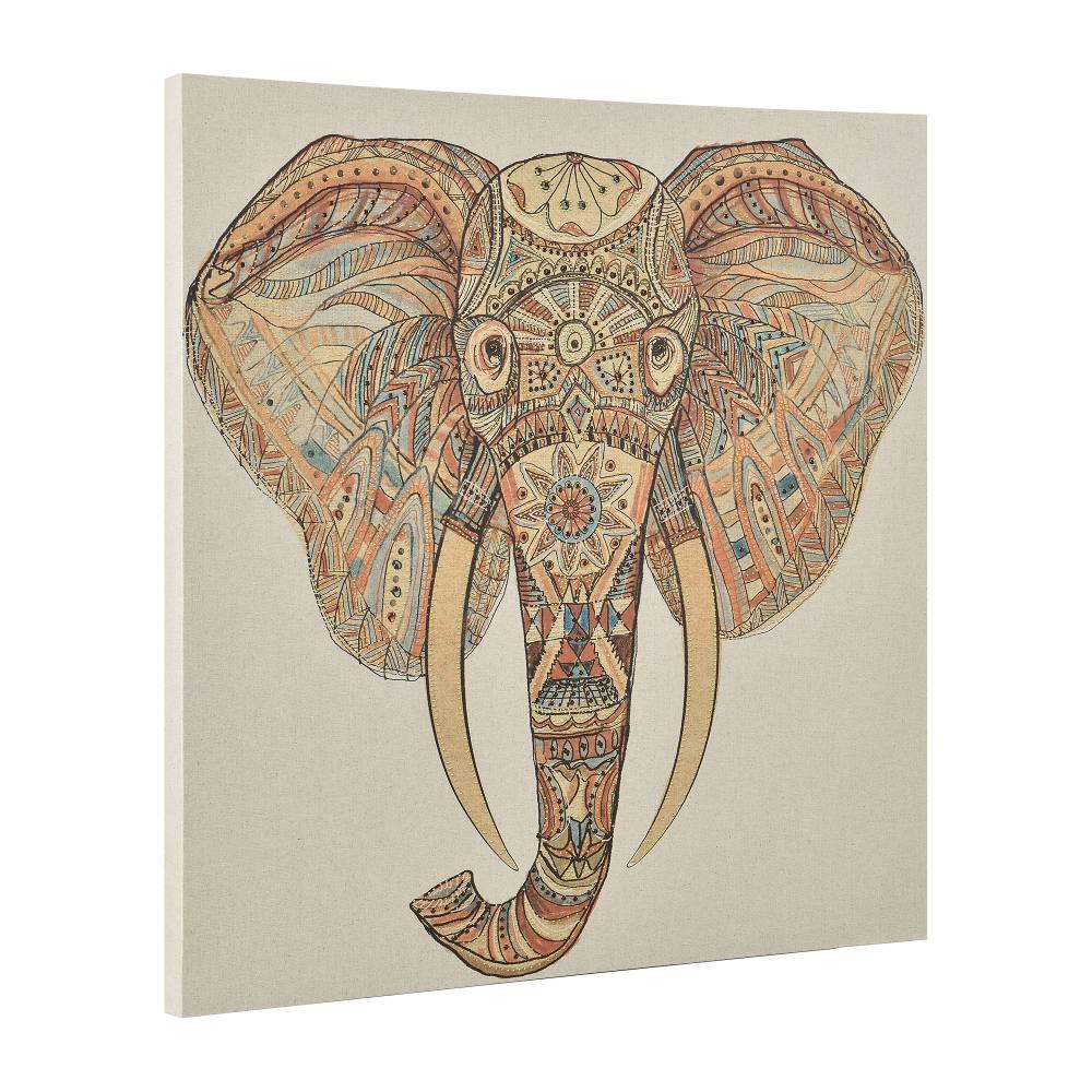 [art.work] Dekoratívny obraz na stenu - slon - plátno napnuté na ráme - 80x80x3,8 cm