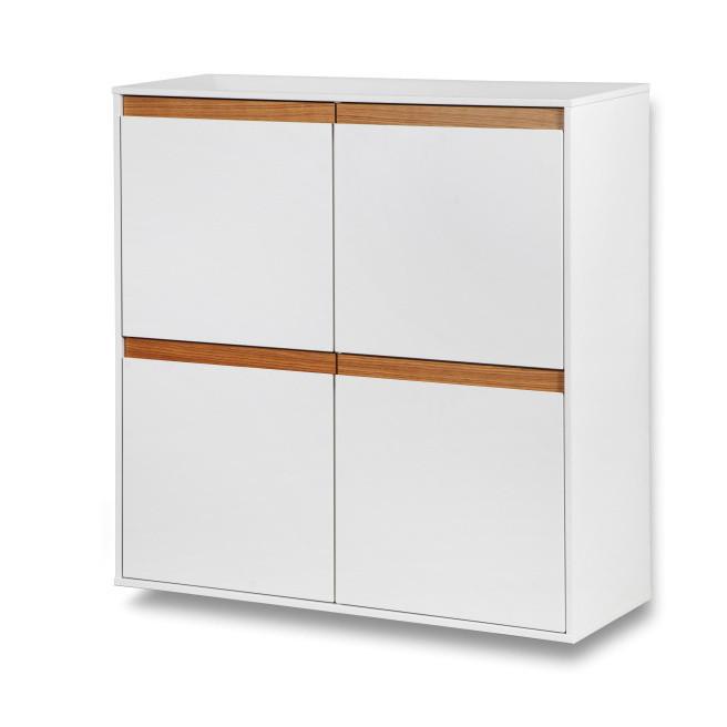 Biela nástenná skrinka s drevenými detailmi Dřevotvar Ontur 45