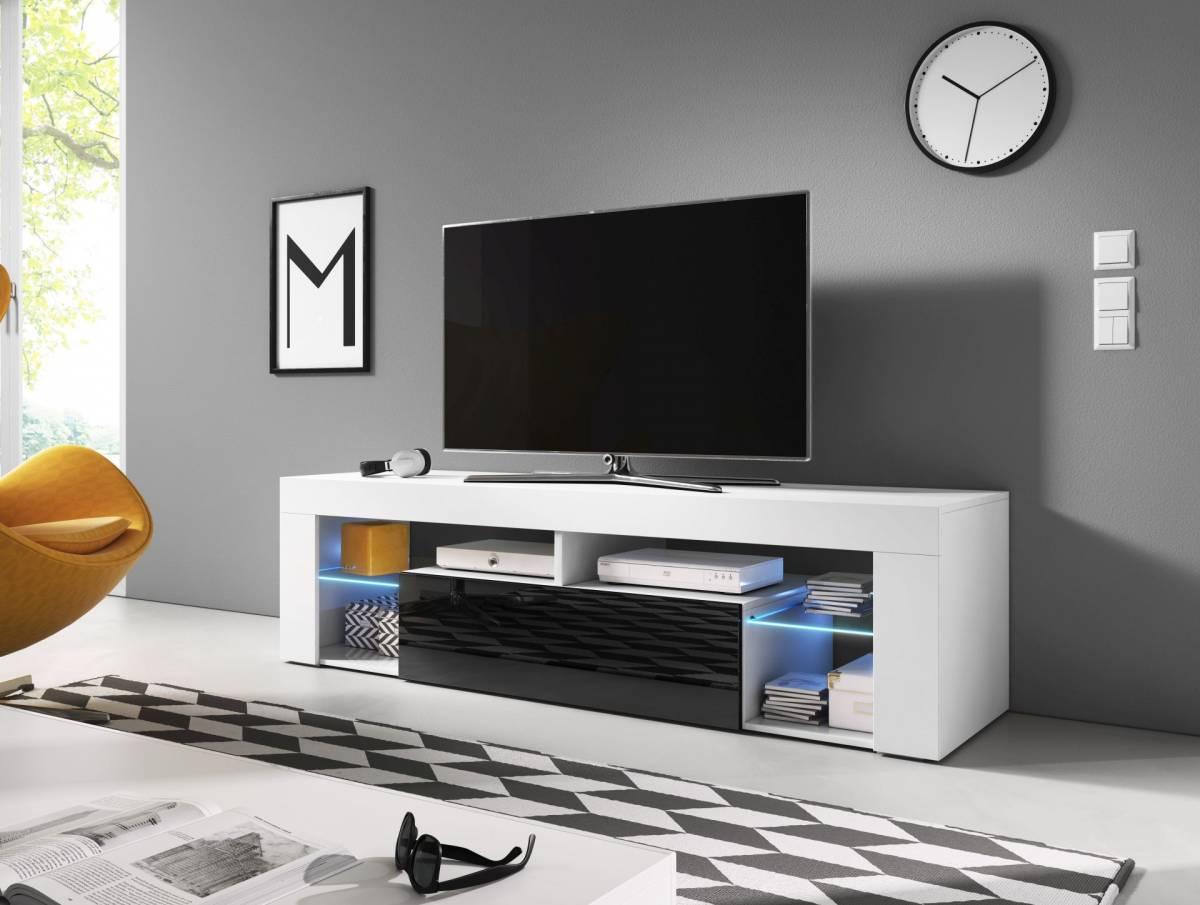 TV stolík/skrinka Everest (čierny lesk + biela matná)