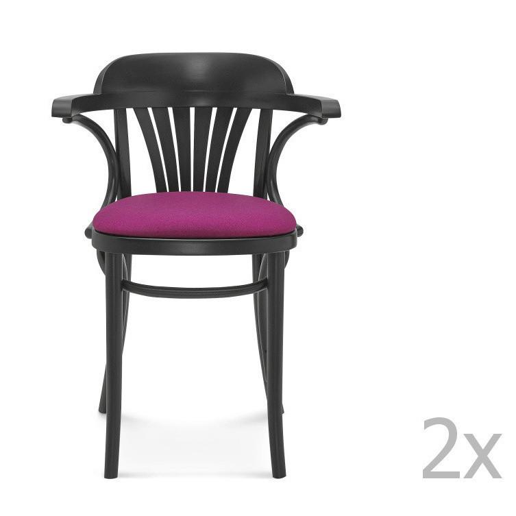 Sada 2 čiernych stoličiek s ružovým čalúnením Fameg Mathias