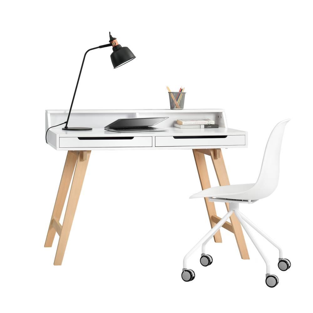[en.casa]® Dizajnový stôl so stoličkou - biely - Münster