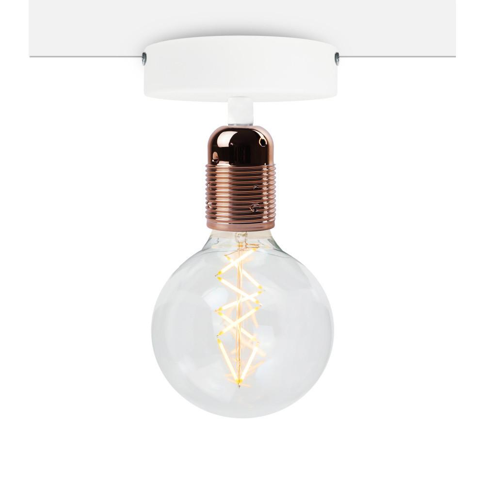 Biele stropné svietidlo s medenou objímkou Bulb Attack Uno Basic