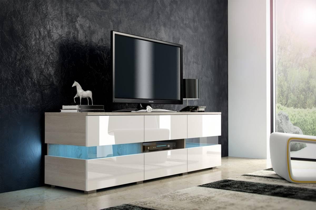 TV stolík Inter dub sonoma svetlý + lesk biely