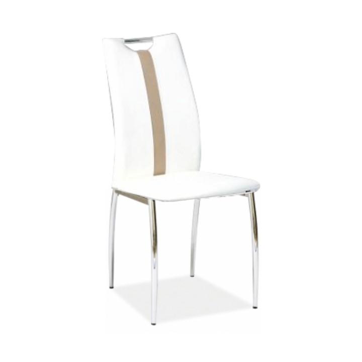 Stolička, biela/béžová ekokoža + chrom nohy, SIGNA