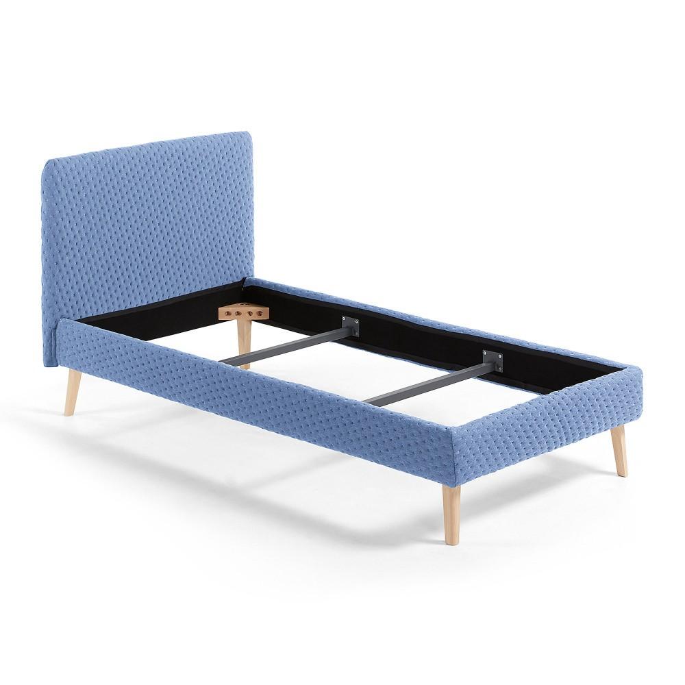 Modrá jednolôžková čalúnená posteľ La Forma Lydia Dotted, 190×90cm