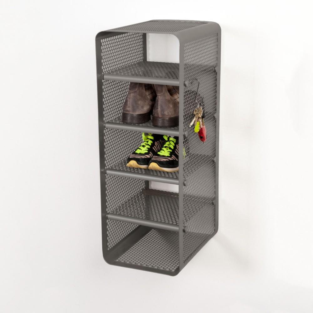 Sivá nástenná 5-poschodová srkinka na topánky Tica copenhagen Perforate