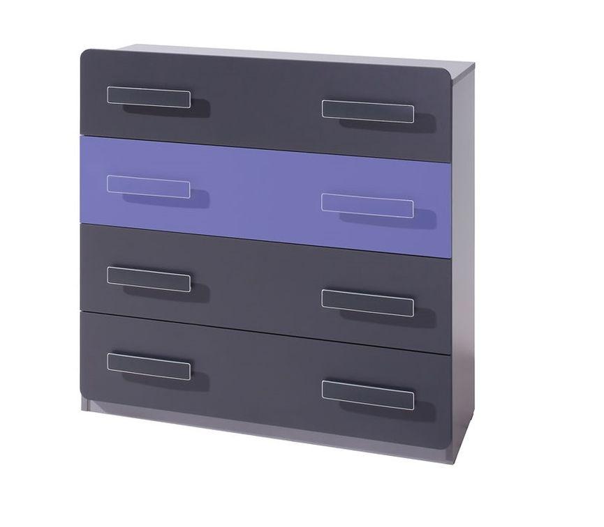 Komoda FIGARO 4SZ, 91x90x42 cm, grafit/fialová