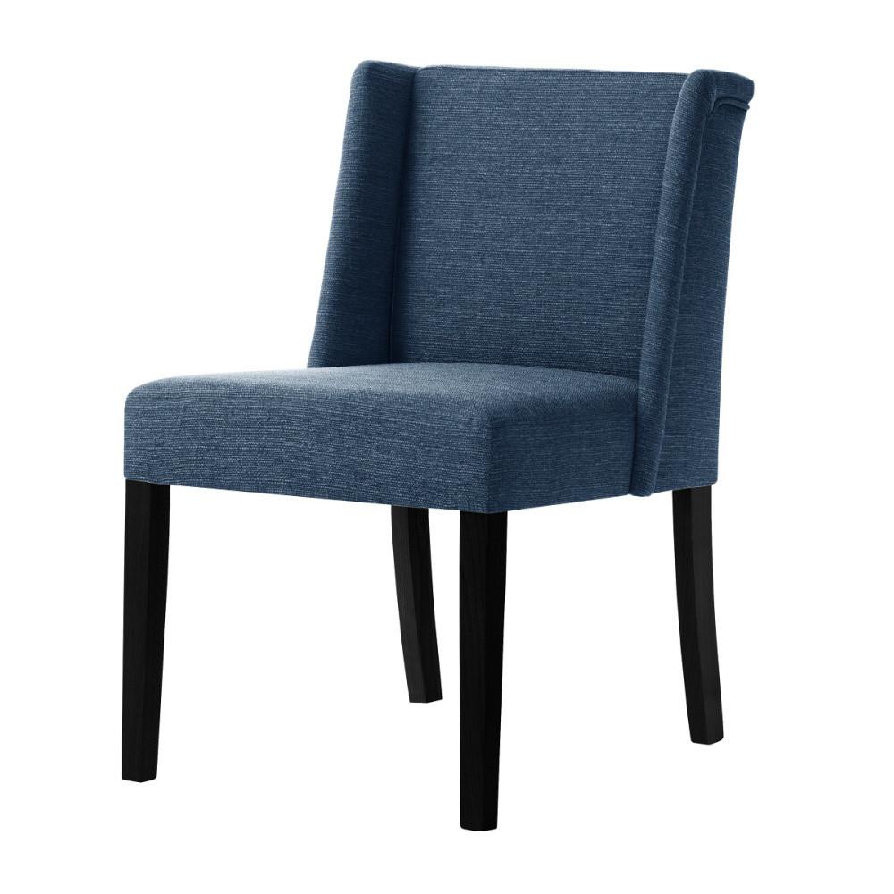 Denimová modrá stolička s čiernymi nohami Ted Lapidus Maison Zeste