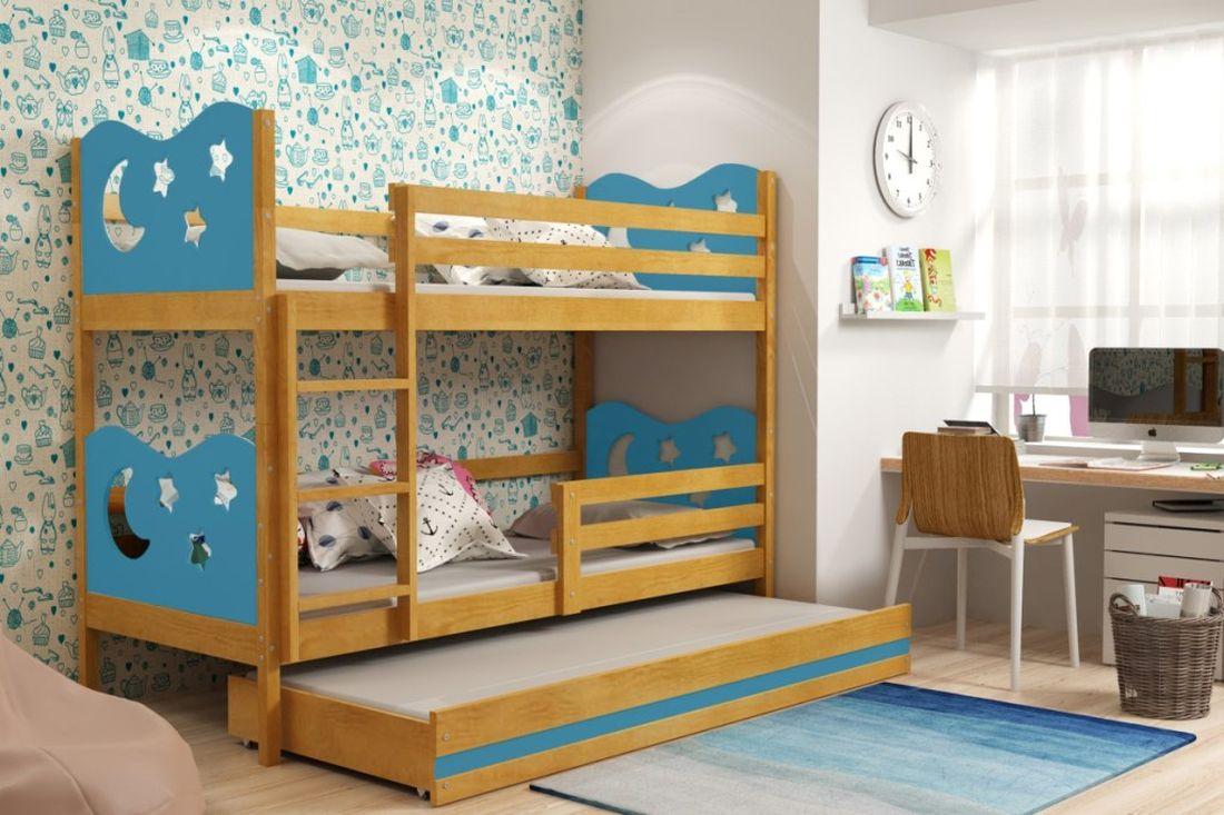 Poschodová posteľ KAMIL 3 + matrac + rošt ZADARMO, 90x200, jelša/blankytná