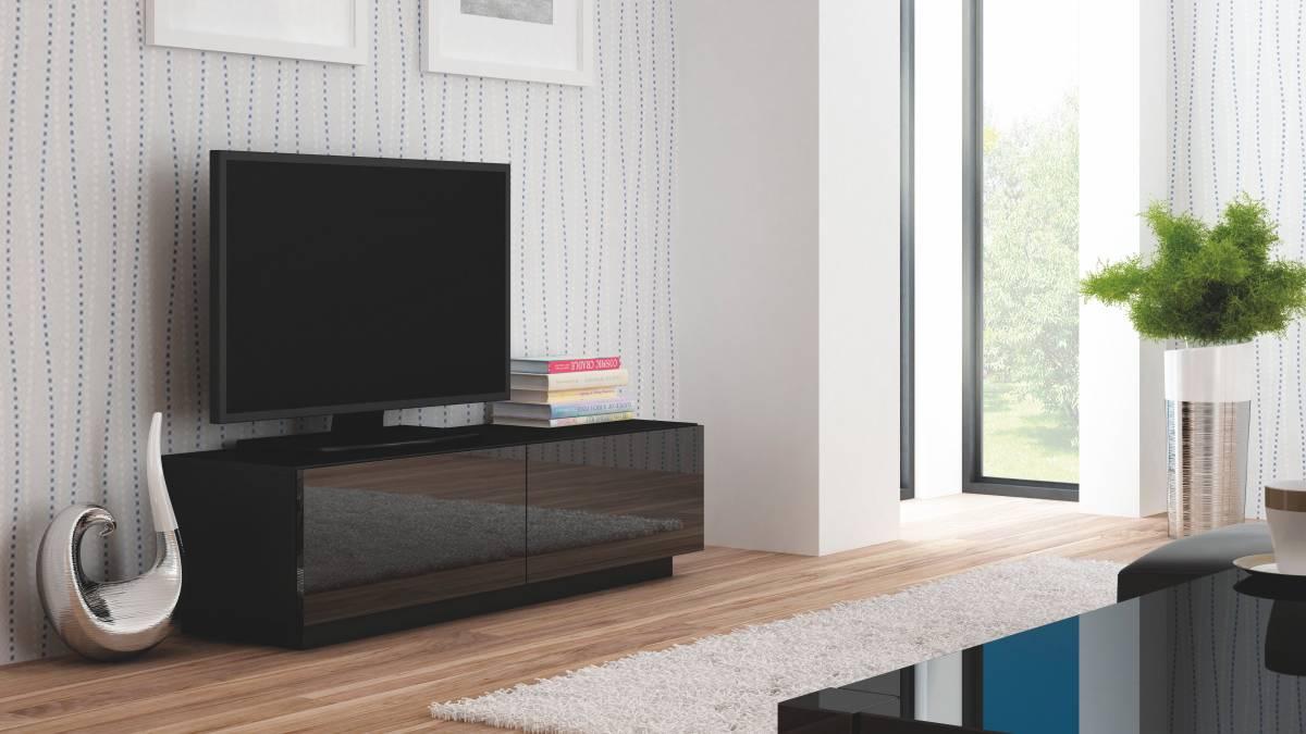 TV stolík/skrinka Livo RTV-160S (čierna + lesk čierny)