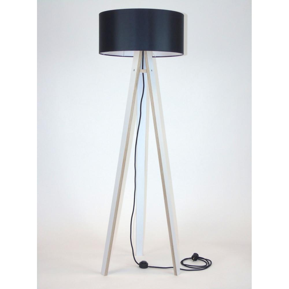 Biela stojacia lampa s čiernym tienidloma čiernym káblom Ragaba Wanda