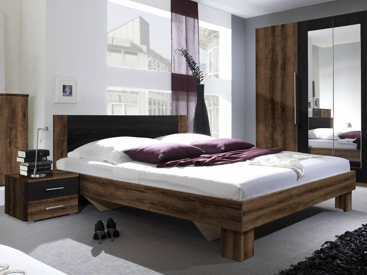 Manželská posteľ 160 cm Typ 51 (monastery + čierna) (s noč. stolíkmi)