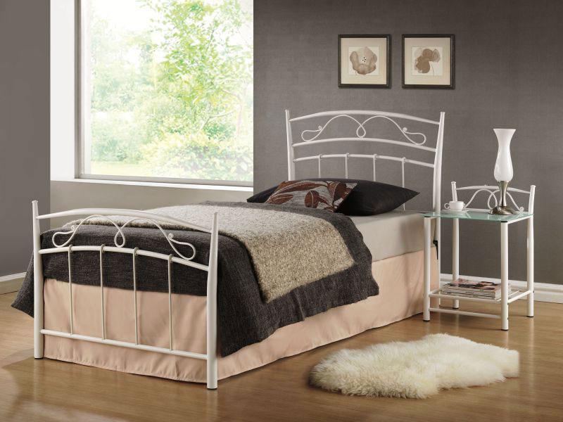 Kovová posteľ SEINA 90x200, biela