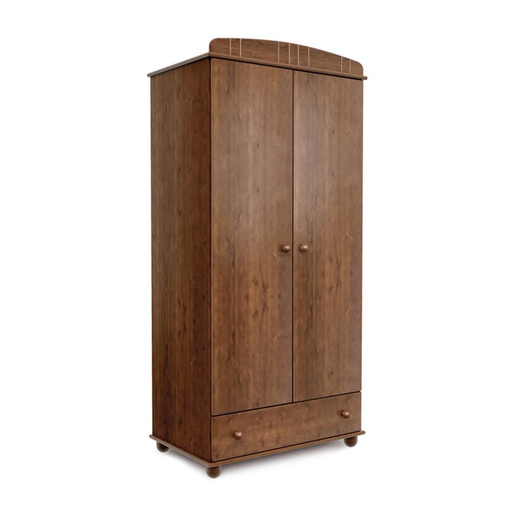 Tmavohnedá dvojdverová šatníková skriňa z borovicového dreva Faktum Tomi