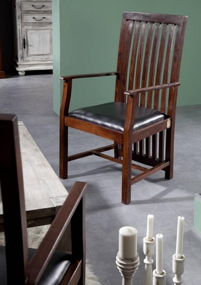 ZENO OXFORD #27 Kolonialer čalúnené kreslo, masívny agátový nábytok, čierna