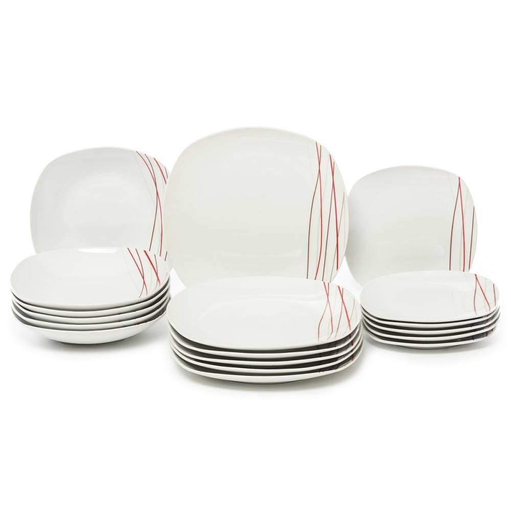 Domestic Sencilla Jídelní souprava talířů z porcelánu 18dílná, MÄSER