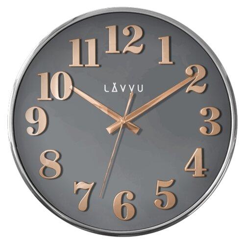 LAVVU LCT1161 - Šedé hodiny Home Grey s dreveným dekorom
